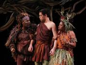 """""""Mwindo"""" by Cheryl L. West, at Seattle Children's Theatre through Feb. 15. Pictured: Reginald Andrè Jackson, Tyler Trerise and Felicia Loud. (Photo by Chris Bennion)"""