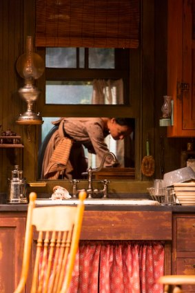 """Kathleen McElfresh in """"The Second Girl"""" at Huntington Theatre Company. (Photo by T. Charles Erickson)"""