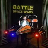 """Battle Space Wars"" by Kevin Gillese and Arlen Konopaki, a Dad's Garage production at 7 Stages in Atlanta through Mar. 7. Pictured: Prop master Jamie Warde."