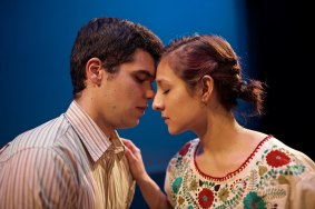 """Lydia"" by Octavio Solis, at Cara Mia Theatre Company in Dallas through Apr. 19. Pictured: 2. Marcus Piñon and Alejandra Flores. (Photo by TZOM Films)"