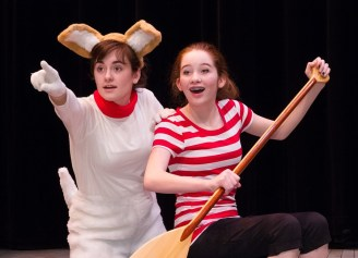 """""""One Dog Canoe,"""" adapted by Jeannine Coulombe from the book by Mary Casanova, at Stages Theatre Company in Hopkins, Minn., through May 10. Pictured: Ava Byrne and Teagan Bauar."""