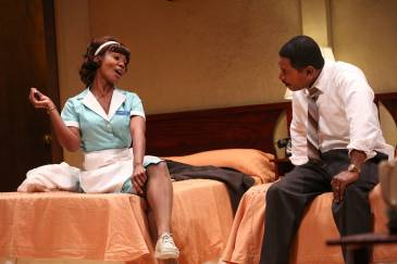"""""""The Mountaintop"""" by Katori Hall, at Geva Theatre in Rochester, N.Y., in 2015. Pictured: Joniece Abbott-Pratt and Royce Johnson. (Photo by Ken Huth)"""