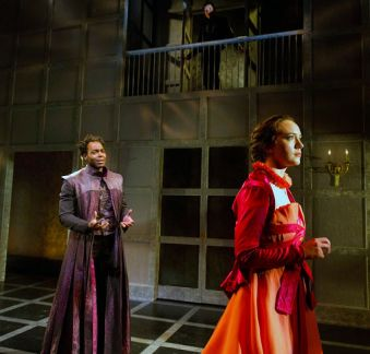 """""""'Tis Pity She's a Whore"""" by John Ford, a Red Bull Theater production at the Duke on 42nd Street in New York City through May 16. Pictured: Clifton Duncan, Matthew Amendt and Amelia Pedlow. (Photo by Richard Termine)"""