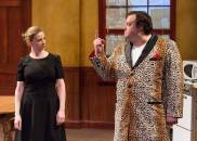"""""""To the Moon"""" by Jennifer Childs, a production of 1812 Productions at Christ Church Neighborhood House Theater in Philadelphia through May 17. Pictured: Tracie Higgins and Scott Greer. (Photo by Mark Garvin)"""