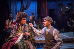 """A Civil War Christmas"" by Paula Vogel, at Artists Repertory Theatre in Portland, Ore., in 2016. Pictured: Ayanna Berkshire, Blake Stone, and ensemble. (Photo by Owen Carey)"
