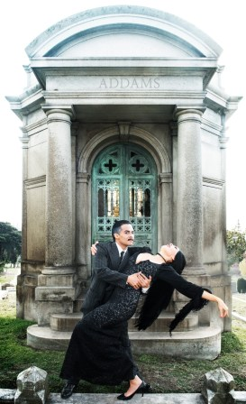 """""""The Addams Family"""" by Marshall Brickman, Rick Elice, and Andrew Lippa, at Berkeley Playhouse in Berkeley, Calif., through April 17. Pictured: Taylor Bartolucci and Alex Rodriguez. (Photo by Ben Krantz Studio)"""