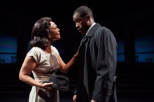 """""""All the Way"""" by Robert Schenkkan, at Cleveland Play House in 2016. Pictured: Rachel Leslie and Jason Bowen. (Photo by Roger Mastroianni)"""