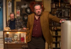 """""""American Buffalo"""" by David Mamet, at Mary Arrchie Theatre Co. in Chicago, through April 17. Pictured: Richard Cotovsky and Stephen Walker. (Photo by Michael Brosilow)"""