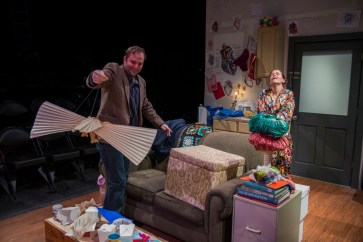 """""""Animals Out of Paper"""" by Rajiv Joseph, a Shattered Globe Theatre production at Theater Wit in Chicago, through Feb. 27. Pictured: Joe Wiens and Cortney McKenna. (Photo by Michael Brosilow)"""
