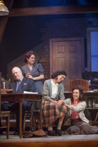 """""""The Diary of Anne Frank,"""" adapted by Wendy Kesselman from Frances Goodrich and Albert Hackett, at Cincinnati Shakespeare Company through Oct. 1. Pictured: Jim Hopkins, MKelly Mengelkoch, Caitlin McWethy, and Courtney Lucien. (Photo by Mikki Schaffner Photography)"""