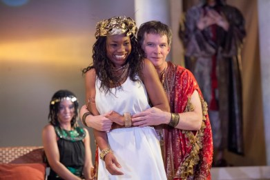 """""""Antony and Cleopatra"""" by Shakespeare, at Cincinnati Shakespeare Company in Cincinnati, Ohio, through June 4. Pictured: Aiden Sims, Chantal Jean-Pierre, and Nicholas Rose. (Photo by Mikki Schaffner Photography)"""
