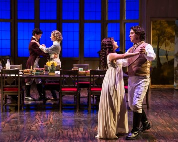 """""""Arcadia"""" by Tom Stoppard, at A Noise Within in Pasadena, Calif., through Nov. 20. Pictured: Richy Storrs, Susan Angelo, Erika Soto, and Rafael Goldstein. (Photo by Craig Schwartz)"""