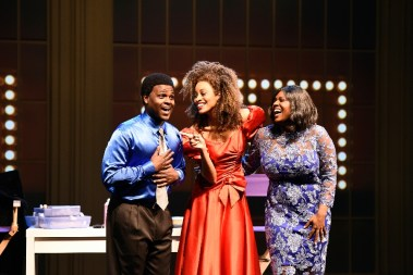 """""""Born for This: The BeBe Winans Story,"""" by Charles Randolph-Wright and BeBe Winans, at Arena Stage in Washington, D.C., through Aug. 28. Pictured: Juan Winans and Deborah Joy Winans. (Photo by Greg Mooney, courtesy of Alliance Theatre)"""