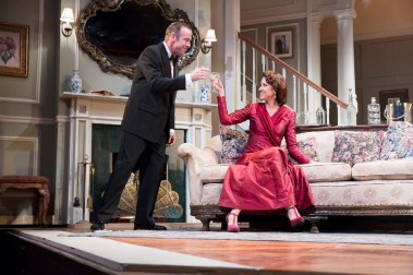 """""""Blithe Spirit"""" by Noël Coward, at Pennsylvania Shakespeare Festival in Center Valley, Penn., through Aug. 7. Pictured: Ian Merrill Peakes and Karen Peakes. (Photo by Lee A. Butz)"""