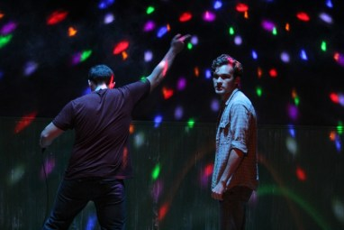"""Bobbie Clearly"" by Alex Lubischer, at Steep Theatre in Chicago through Nov. 5. Pictured: Nick Horst and Carson Schroeder. (Photo by Gregg Gilman)"