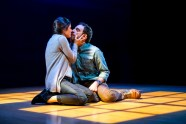"""""""Constellations"""" by Nick Payne, at Seattle Repertory Theatre in Seattle, through Feb. 27. Pictured: Alexandra Tavares and Max Gordon Moore. (Photo by Alan Alabastro)"""