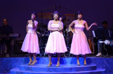 """""""Don't Make Me Over"""" by Jackie Taylor, at Black Ensemble Theater in Chicago, through May 15. Pictured: Kylah Frye, Rose Marie Simmons, and Renelle Nicole. (Photo by Michael Courier)"""