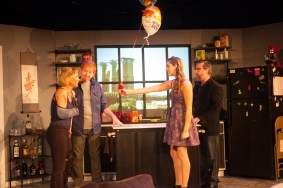 """""""Time Stands Still"""" by Donald Margulies, at Jobsite Theater in Tampa, Fla., through July 31. Pictured: Joanna Sycz, David Jenkins, Maggie Mularz, and Brian Shea. (Photo by Pritchard Photography)"""