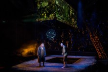 """""""Frankenstein,"""" adapted by Nick Dear from Mary Shelley, at Denver Center for the Performing Arts, through Oct. 30. Pictured: Kevin McGuire and Mark Junek. (Photo by AdamsVisCom)"""
