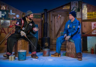 """""""Guys on Ice"""" by Fred Alley, James Kaplan, and Frederick Heide, at Milwaukee Repertory Theater through Jan. 17. Pictured: Steve Koehler and Doug Mancheski. (Photo by Michael Brosilow)"""