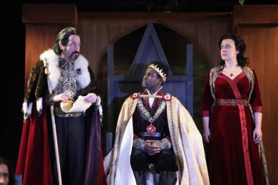 """Henry VI: The Wars of the Roses, Part 1"" by Shakespeare, at Cincinnati Shakespeare Company , in Cincinnati, Ohio, through Feb. 13. Pictured: Paul Riopelle, Darnell Pierre Benjamin, and Kelly Mengelkoch. (Photo by Mikki Schaffner Photography)"