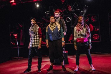 """""""I Call My Brothers"""" by Jonas Hassen Khemiri, at Cleveland Public Theatre through March 4. Pictured: Abdelghani Kitab, Rocky Encalada, Salar Ardebili, and Andrea Belser. (Photo by Steve Wagner)"""