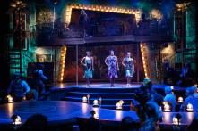 """Jelly's Last Jam,"" by George C. Wolfe, Jelly Roll Morton, and Susan Birkenhead, at Signature Theatre in Washington, D.C., through Sept. 11. Pictured: Kara-Tameika Watkins, Nova Y. Payton, Eben K. Logan, and the cast. (Photo by Margot Schulman)"