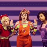 """""""Junie B. Jones Is Not a Crook,"""" adapted by Allison Gregory from Barbara Park, at Children's Theatre of Charlotte in 2017. Pictured: Leslie Ann Giles, Kayla Piscatelli, and Ericka Ross."""