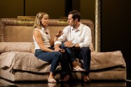"""""""JUNK: The Golden Age of Debt"""" by Ayad Akhtar, at La Jolla Playhouse in La Jolla, Calif., through Aug. 21. Pictured: Annika Boras and Josh Cooke. (Photo by Jim Carmondy)"""