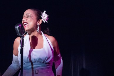 """Lady Day at Emerson's Bar and Grill"" by Lanie Robertson, at Spinning Tree Theatre in Kansas City, Mo., through Aug. 28. Pictured: Nedra Dixon. (Photo by J Robert Schraeder Photography)"