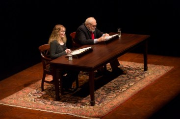 """""""Love Letters"""" by A.R. Gurney, at Long Wharf Theatre in New Haven, Conn. in 2016. Pictured: Brian Dennehy and Mia Farrow. (Photo by T. Charles Erickson)"""