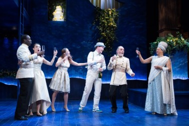 """A Midsummer Night's Dream"" by Shakespeare, at the Folger Theatre in Washington, D.C., through March 6. Pictured: Desmond Bing, Kim Wong, Betsy Mugavero, Adam Wesley Brown, Eric Hissom, and Caroline Stefanie Clay. (Photo by Teresa Wood)"