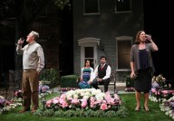 """Native Gardens"" by Karen Zacarías at Cincinnati Playhouse in the Park in Cincinnati, Ohio, in 2016. Pictured: John Lescault, Sabina Zuniga Varela, Gabriel Ruiz, and Karen Ziemba. (Photo by Mikki Schaffner)"