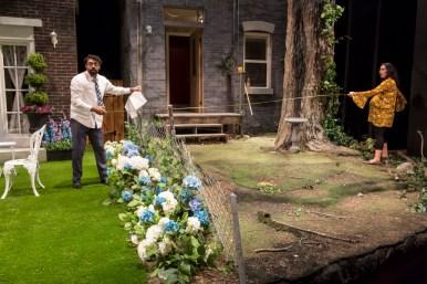 """""""Native Gardens"""" by Karen Zacarías, at Victory Gardens Theatre in Chicago, through July 2. Pictured: Gabriel Ruiz and Paloma Nozicka. (Photo by Liz Lauren)"""