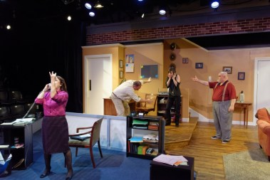 """Nobody's Perfect"" by Simon Williams, at Theatre Britain in Plano, Texas through July 16. Pictured: Sue Birch, Brian Hoffman, Madeleine Morris, and Steven Shayle Rhodes."