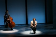 """""""Notes From the Field"""" by Anna Deavere Smith at American Repertory Theater in Cambridge, Mass., through Sept. 17. Pictured: Marcus Shelby Orchestra and Smith. (Photo by Evgenia Eliseeva)"""