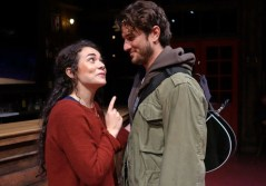 """""""Once,"""" by Enda Walsh, Glen Hansard, and Markéta Irglová, at South Coast Repertory Theatre in Cosa Mesa, Calif., through Sept. 30. Pictured: Amanda Leigh Jerry and Rustin Cole Sailors."""