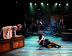"""""""Peter and the Starcatcher"""" by Rick Elice, Wayne Barker, Dave Barry, and Ridley Pearson, at Lyric Stage Company of Boston, through June 26. Pictured: Erica Spyres and Marc Pierre. (Photo by Glenn Perry)"""