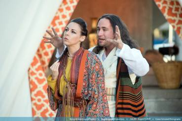 """""""Romeo and Juliet/Layla & Majnun,"""" adapted by Scott Palmer from William Shakespeare and Mizami, at Bag&Baggage Productions in Hillsboro, Ore., through Aug. 5. Pictured: Cassie Greer and Nicholas Granato. (Photo by Casey Campbell Photography)"""