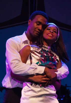 """""""The Sam Cooke Story"""" by Nate Jacobs, at Westcoast Black Theatre Troupe in Sarasota, Fla., through April 9. Pictured: Cecil Washington Jr. and Carmilla Harris. (Photo by Don Daly Photo)"""