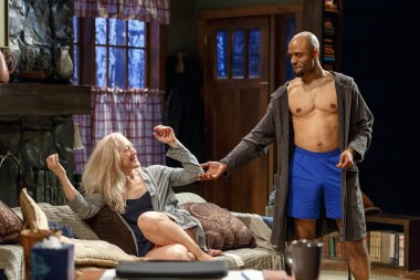 """Sex With Strangers"" by Laura Eason, at Geva Theatre Center in Rochester, N.Y. though April 30. Pictured: LeeAnne Hutchison and Darian Dauchan. (Photo by Dave Burbank)"