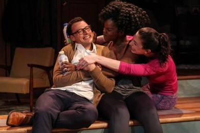 """Significant Other"" by Joshua Harmon, at Actor's Express in Atlanta through June 19. Pictured: Lee Osorio, Brittany Inge, Cara Mantella. (Photo by BreeAnne Clowdus)"