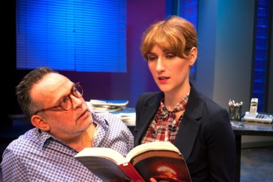 """""""Speed-the-Plow"""" by David Mamet, at B Street Theatre in Sacramento, Calif., through Nov. 6. Pictured: Dave Pierini and Stephanie Altholz."""