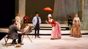 """""""Sunday in the Park with George,"""" by James Lapine and Stephen Sondheim, at Guthrie Theater in Minneapolis through Aug. 20. Pictured: Randy Harrison, Emily Gunyou Halaas, Christine Toy Johnson, Paul Nakauchi, Ann Michels, Sasha Andreev, and Erin Mackey. (Photo by T Charles Erickson)"""