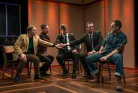 """""""The Tempermentals"""" by Jon Marans, at About Face Theatre in Chicago, through Feb. 18. Pictured: Alex Weisman, Lane Anthony Flores, Kyle Hatley, Rob Lindley, and Paul Fagen. (Photo by Michael Brosilow)"""