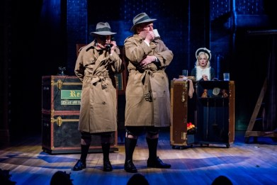 """""""Alfred Hitchcock's The 39 Steps"""" adapted by Patrick Barlow, at Alley Theatre in Houston, through Sept. 3. Pictured: Bruce Warren, Mark Price, and Elizabeth Bunch. (Photo by Christopher Diaz)"""