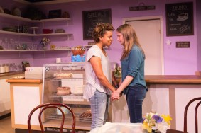 """The Cake"" by Bekah Brunstetter, at Echo Theater Company in Los Angeles in2017. Pictured: Carolyn Ratteray and Shannon Lucio. (Photo by Darrett Sanders)"
