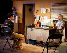 """""""The Few"""" by Samuel D. Hunter, at Steep Theatre in Chicago, through May 21. Pictured: Travis Coe and Peter Moore. (Photo by Lee Miller)"""