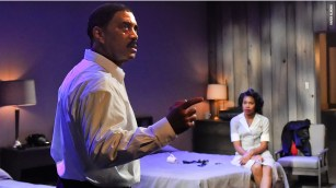 """""""The Mountaintop"""" by Katori Hall, at Dallas Theater Center in 2015. Pictured: Hassan El-Amin and Tiana Kaye Johnson. (Photo by Karen Almond)"""