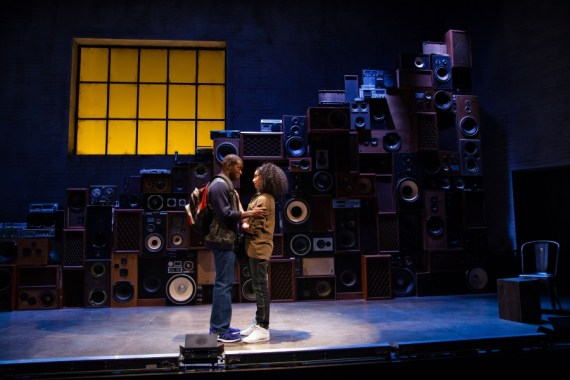 """""""The Realess: a break beat play"""" by Idris Goodwin, at Merrimack Repertory Theatre in Lowell, Mass., through April 10. Pictured: Terrell Donnell Sledge and Diomargy Nunez. (Photo by Meghan Moore)"""